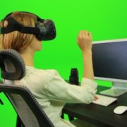 Woman-Working-on-the-Computer-in-Virtual-Reality-Green-Screen-Footage_001 Green Screen Stock