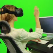 Woman-Working-on-the-Computer-in-Virtual-Reality-Green-Screen-Footage_002 Green Screen Stock