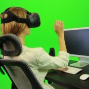Woman-Working-on-the-Computer-in-Virtual-Reality-Green-Screen-Footage_004 Green Screen Stock