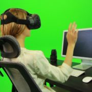 Woman-Working-on-the-Computer-in-Virtual-Reality-Green-Screen-Footage_005 Green Screen Stock