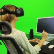 Woman-Working-on-the-Computer-in-Virtual-Reality-Green-Screen-Footage_006 Green Screen Stock