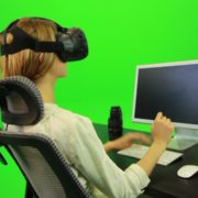 Woman-Working-on-the-Computer-in-Virtual-Reality-Green-Screen-Footage_007 Green Screen Stock