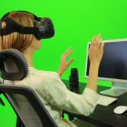 Woman-Working-on-the-Computer-in-Virtual-Reality-Green-Screen-Footage_009 Green Screen Stock