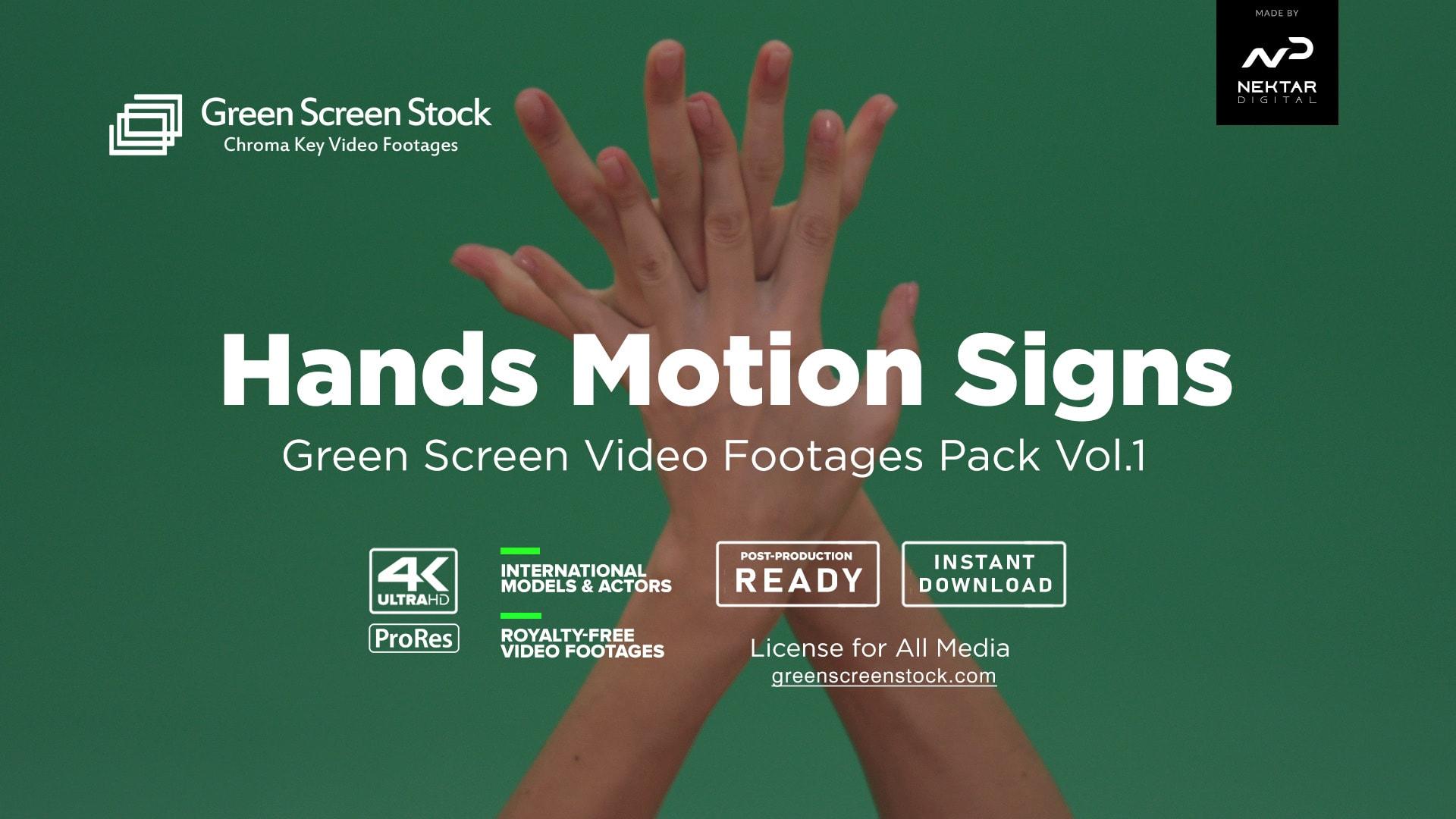 hands move gestures over green screen