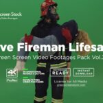 fireman firefighter over green screen