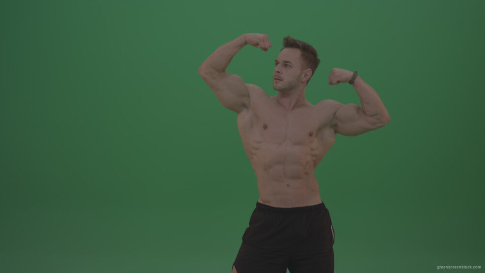 vj video background Green-Screen-Blone_Bodybuilder_Demonstrating_Front_Double_Biceps_And_Lateral_Spread_Positions_On_Green_Screen_Wall_Background_003