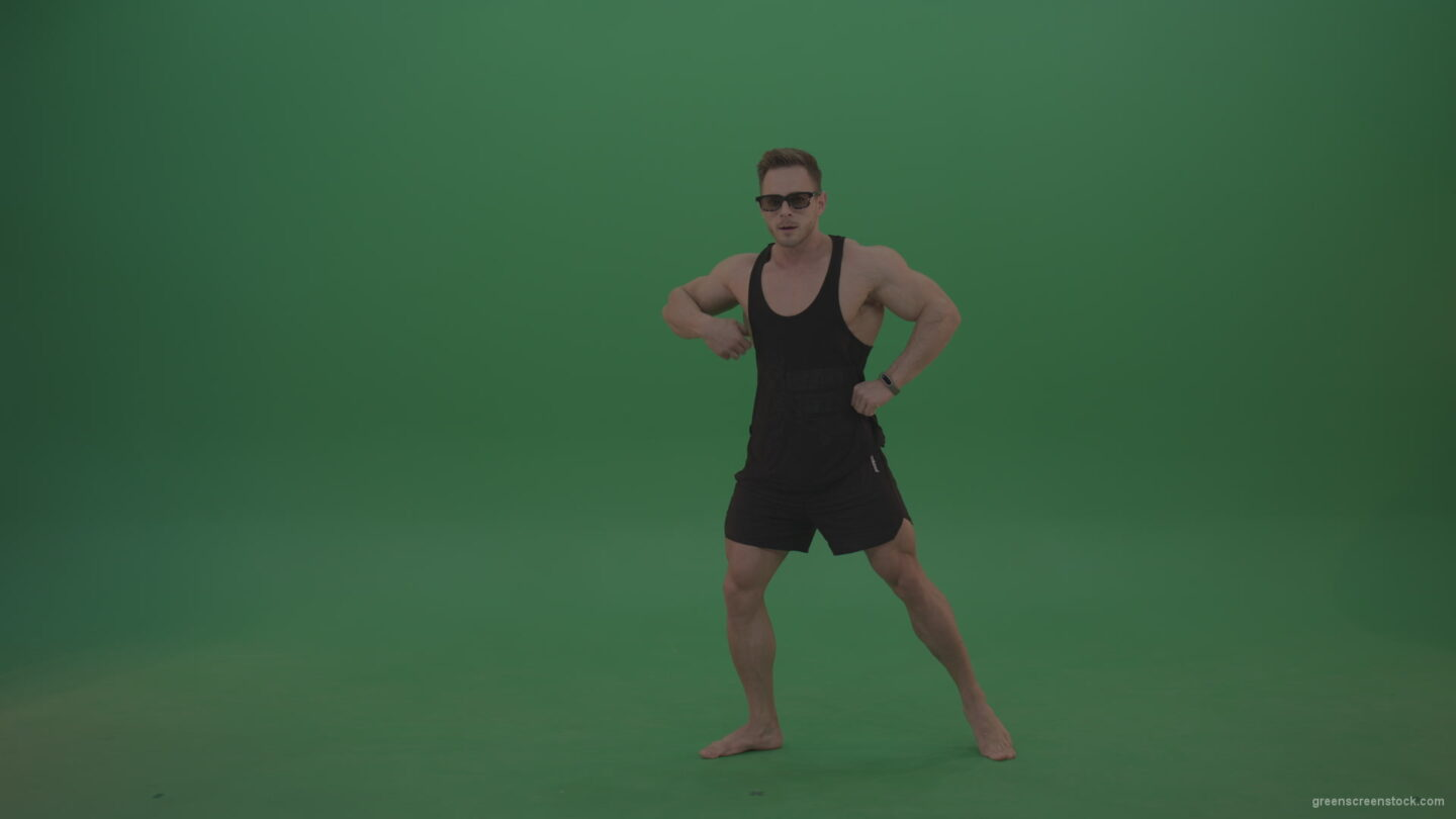 vj video background Green-Screen-Bodybuilder-fitness-trainer-show-muscules-on-green-background-3_003