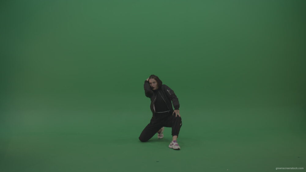 Incredible_Dance_Hip_Hop_Moves_From_Young_Brunette_Female_Wearing_Black_Sweat_Suite_And_White_Trainers_On_Green_Screen_Wall_Background_009 Green Screen Stock