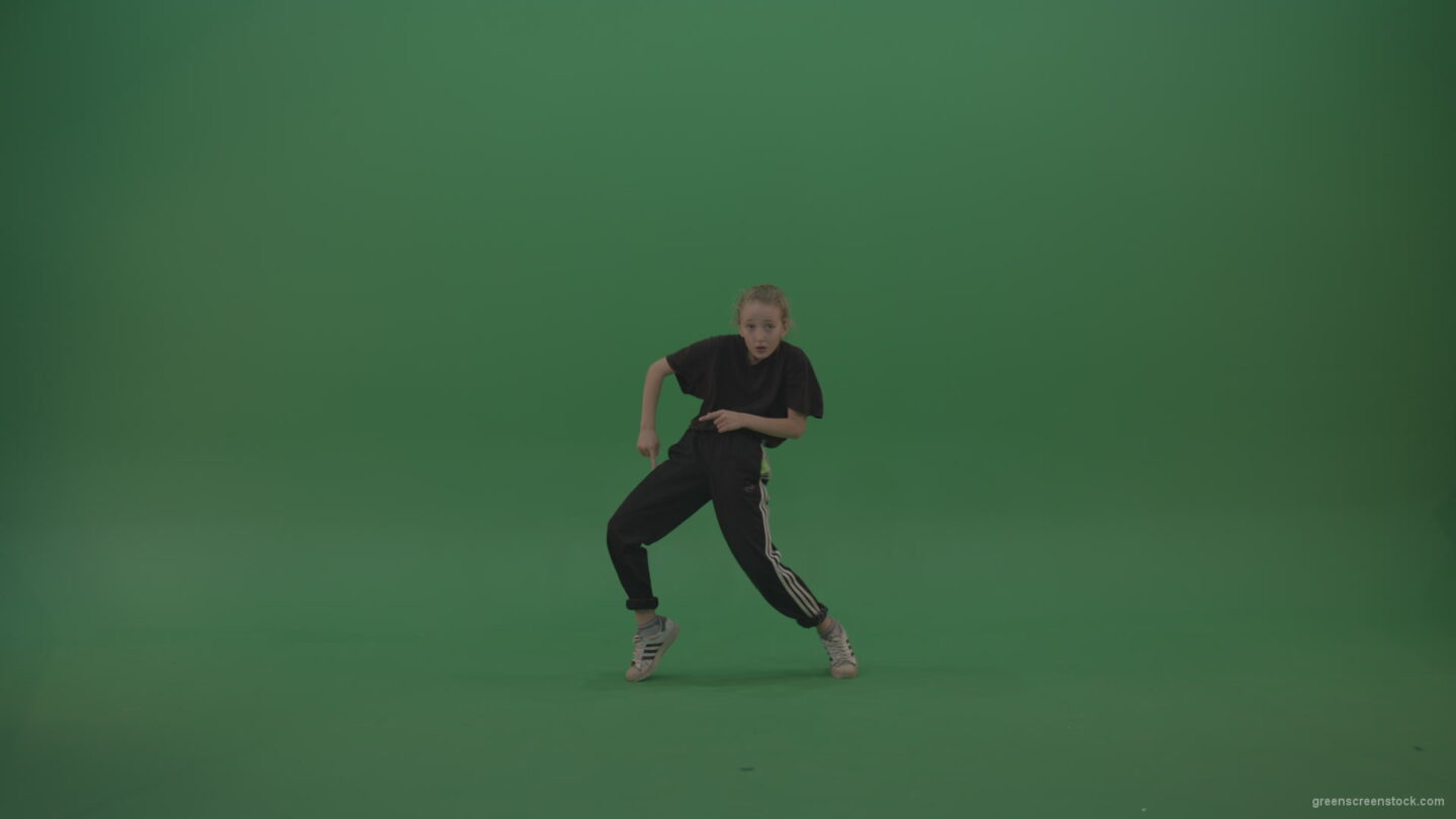 vj video background Incredible_Dance_Hip_Hop_Moves_From_Young_SmalKid_Female_Wearing_Black_Sweat_Suite_And_White_Trainers_On_Green_Screen_Wall_Background_003