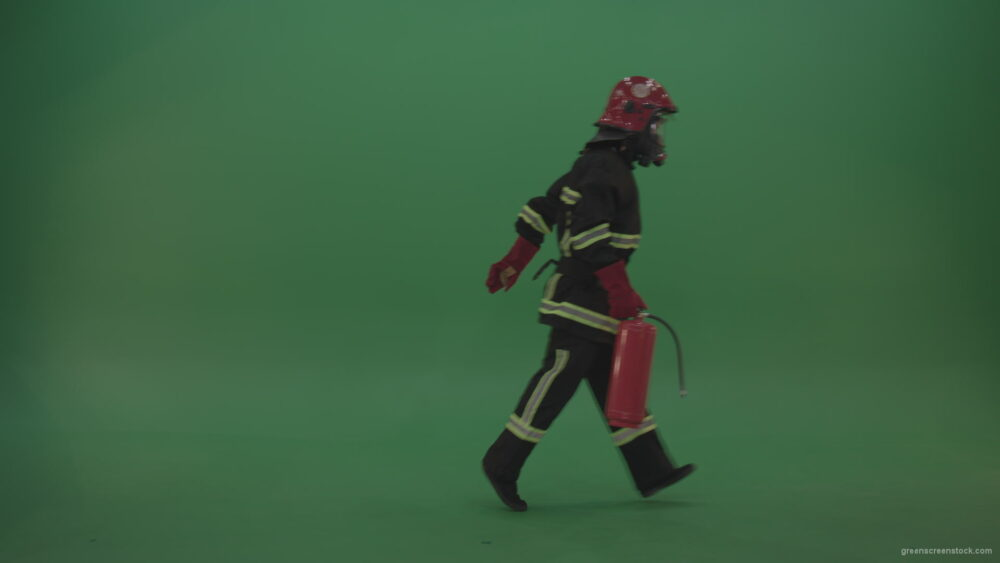 Strong_Firefighter_Keeping_Fire_Extinguisher_And_Wearing_Fireman_Working_Kit_Costume_Running_From_One_Side_To_Another_On_Green_Screen_Wall_Background_006 Green Screen Stock