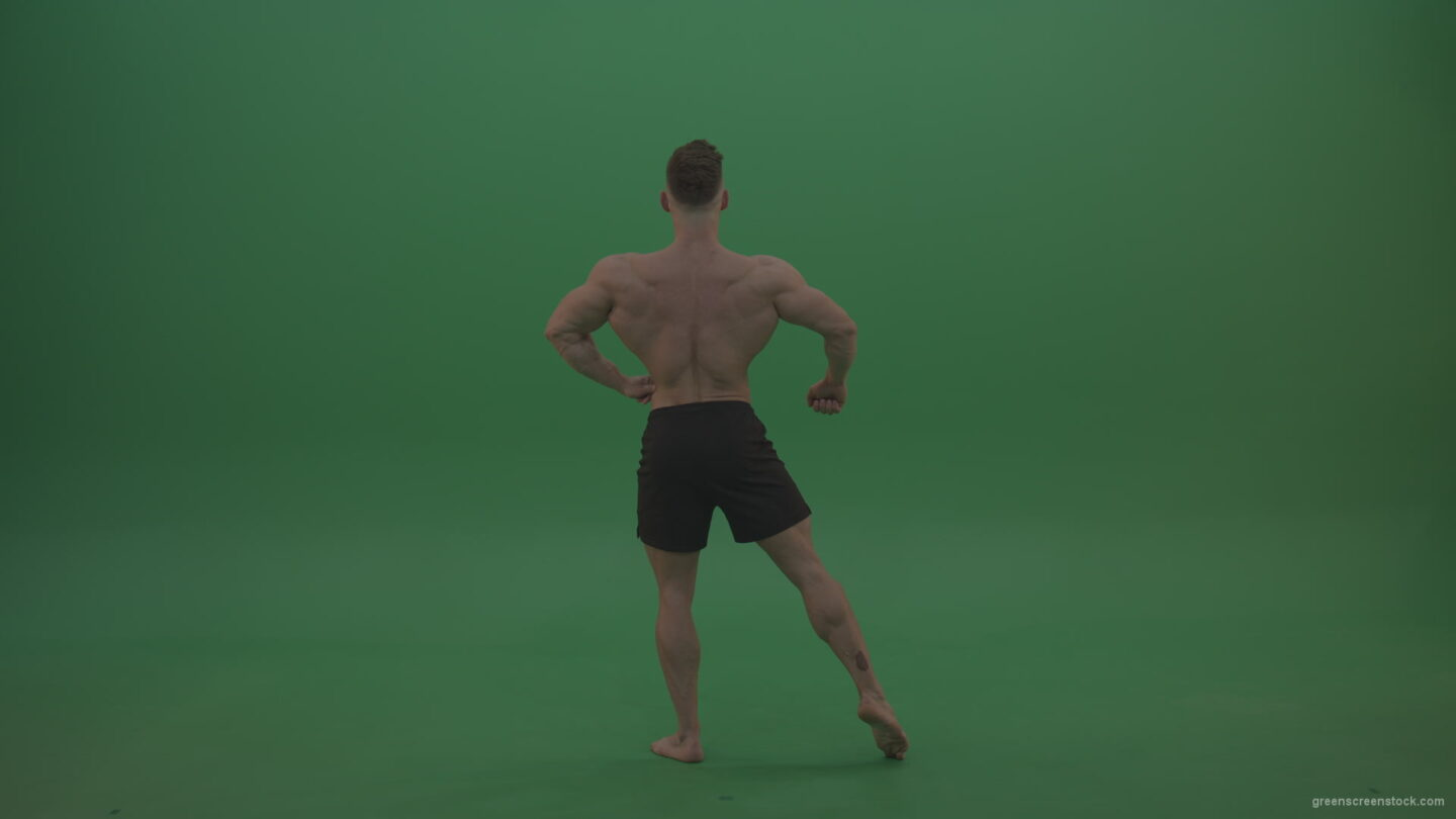 Young_Bodybuilding_Athlete_Showing_Rear_Side_And_Front_Biceps_Poses_Technique_On_Green_Screen_Wall_Background_004 Green Screen Stock