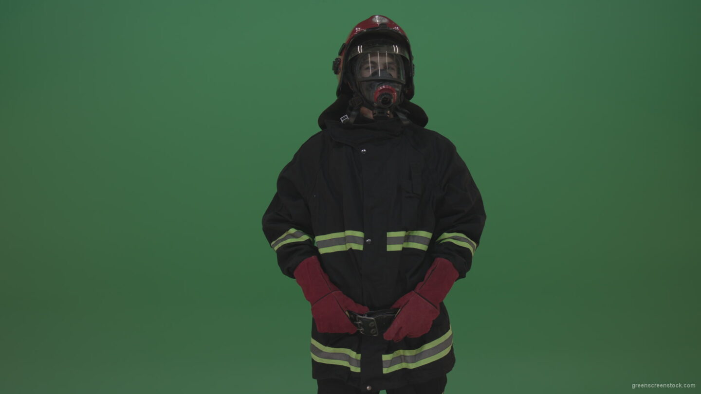 Young_Strong_Fireman_Standing_Still_And_Looking_Around_To_Notice_Any_Problems_On_Green_Screen_Wall_Background_009 Green Screen Stock
