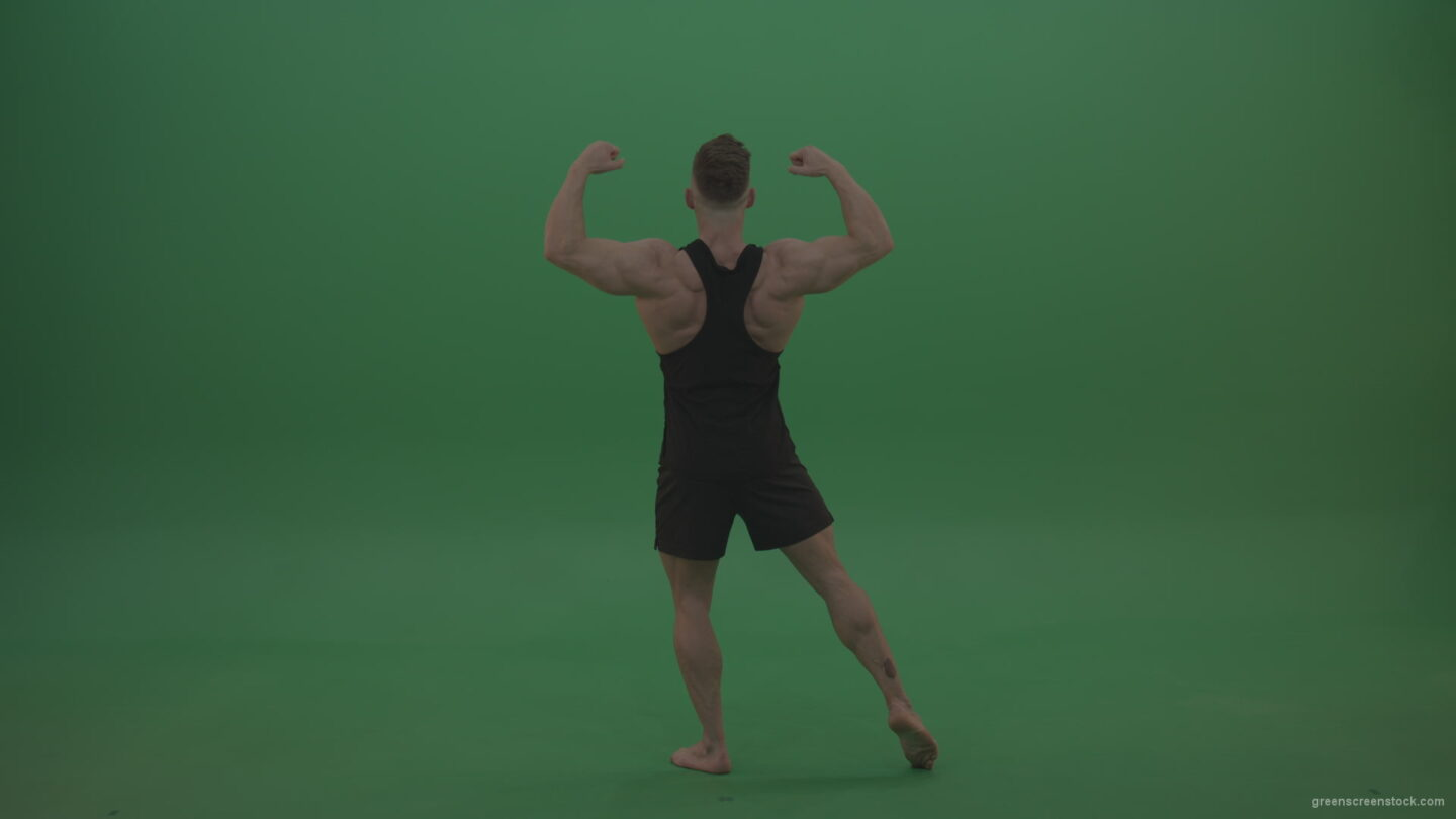 vj video background Young_Workout_Bodybuilder_Showing_Great_Double_Rear_Biceps_Technique_Green_Screen_Wall_Background_003