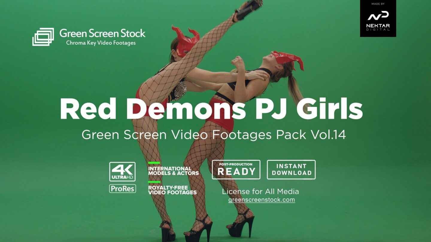 Red Demons PJ Girls – Green Screen Video Footage Pack Vol.14-min
