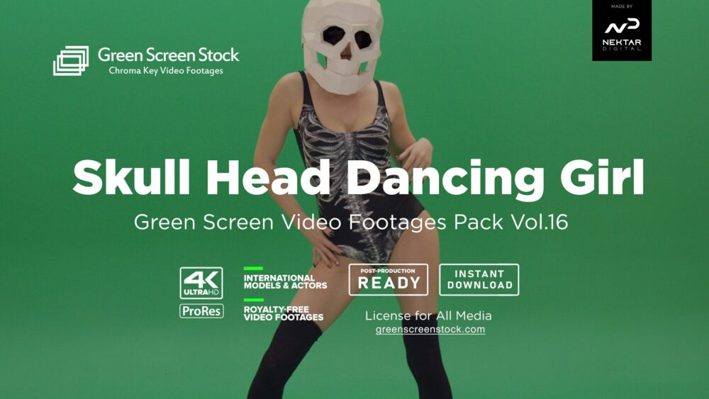 Skull Head Dancing Girl - Green Screen Video Footage