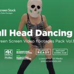 Skull Head Dancing Girl - Green Screen Video Footage