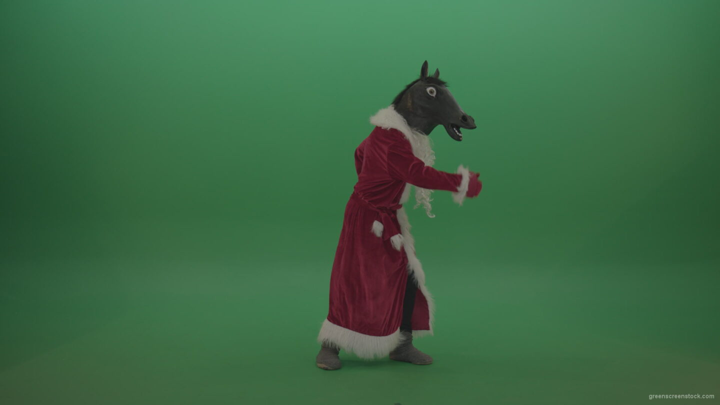 vj video background Creepy-horse-head-santa-dances-over-chromakey-background-1_003