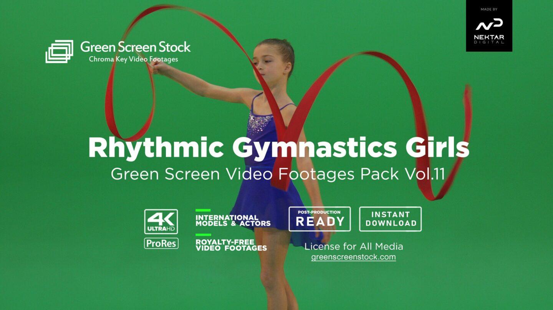 rythmic gymnastic kids green screen video footage