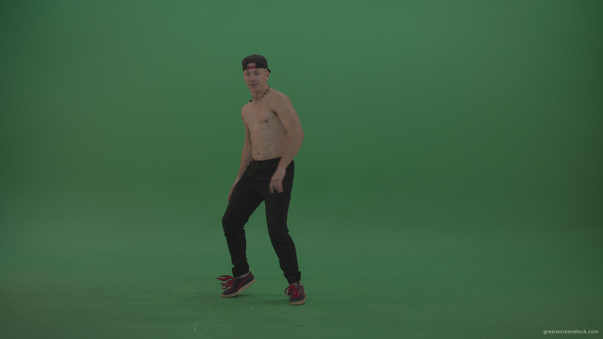 Naked Boy Dancing On Green Background - Green Screen Video -8545