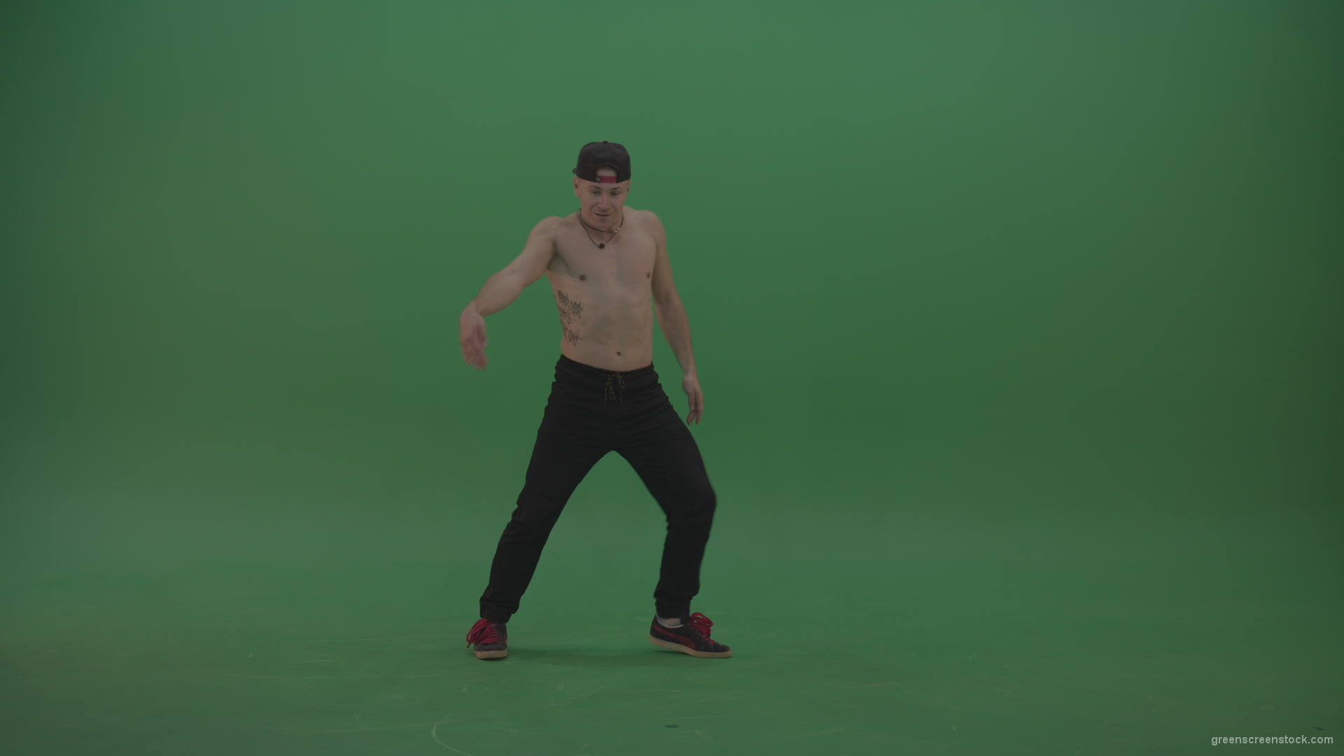Naked Boy Dancing On Green Background - Green Screen Video -6785