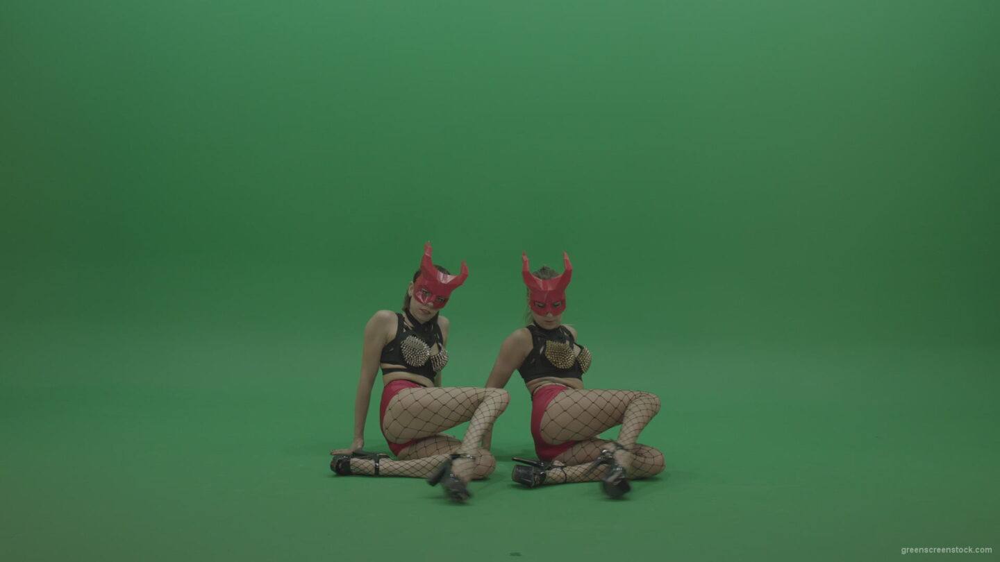 PJ-Demons-Go-Go-Dance-Woman-Red-Mask-Dancers-Green-Screen-Stock-5_009 Green Screen Stock