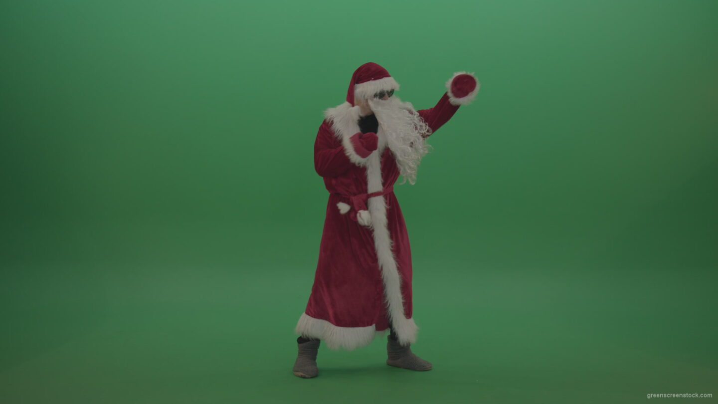 vj video background Santa-in-black-glasses-show-cases-his-boxing-skills-over-chromakey-background_003