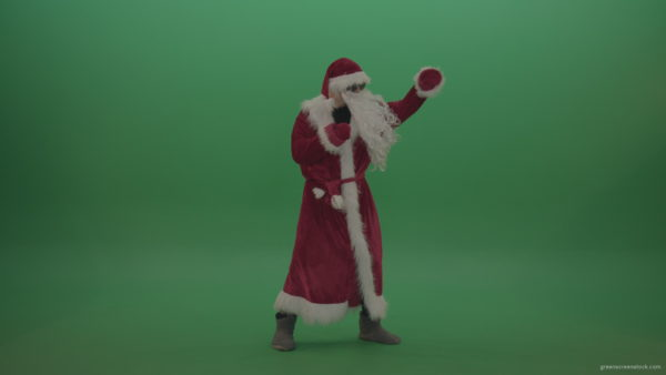 vj video background Santa-in-black-glasses-show-cases-his-boxing-skills-over-chromakey-background_003