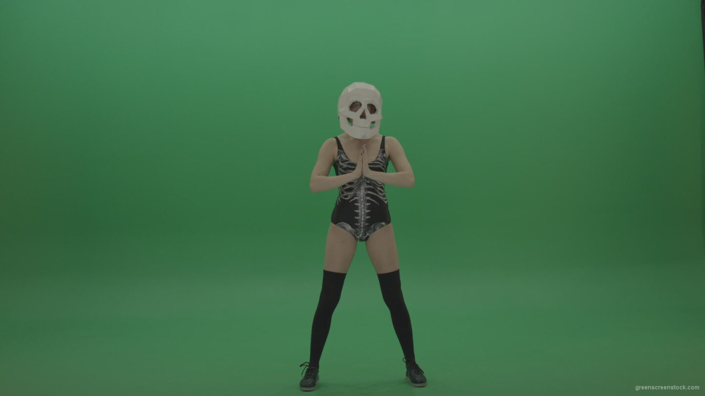 Skull-Head-Dancer-GoGo-Girl-14_005 Green Screen Stock