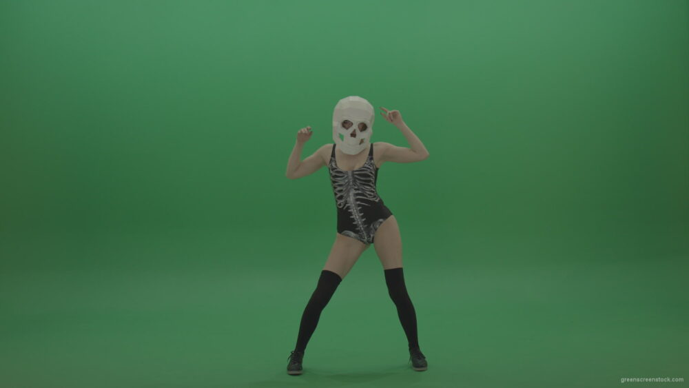 Skull-Head-Dancer-GoGo-Girl-1_006 Green Screen Stock