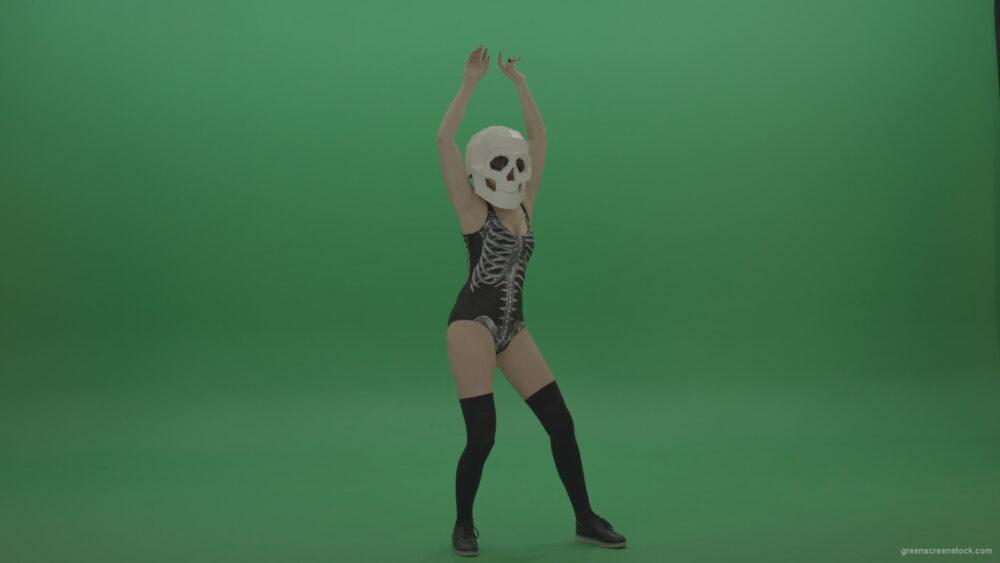 Skull-Head-Dancer-GoGo-Girl-8_004 Green Screen Stock