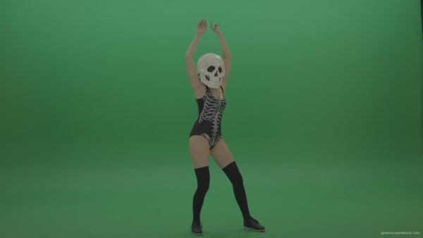 Skull-Head-Dancer-GoGo-Girl-8_004 Green Screen Stock