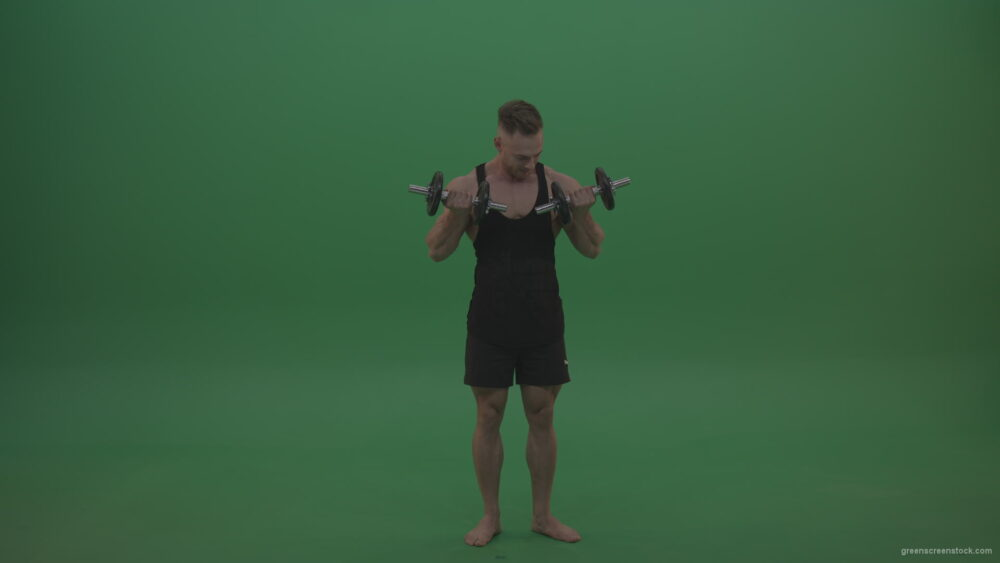 vj video background Young_Bodybuilder_Doing_Dumbbell_Push_Ups_With_Two_Hands_On_Green_Screen_Chroma_Key_Wall_Background_003