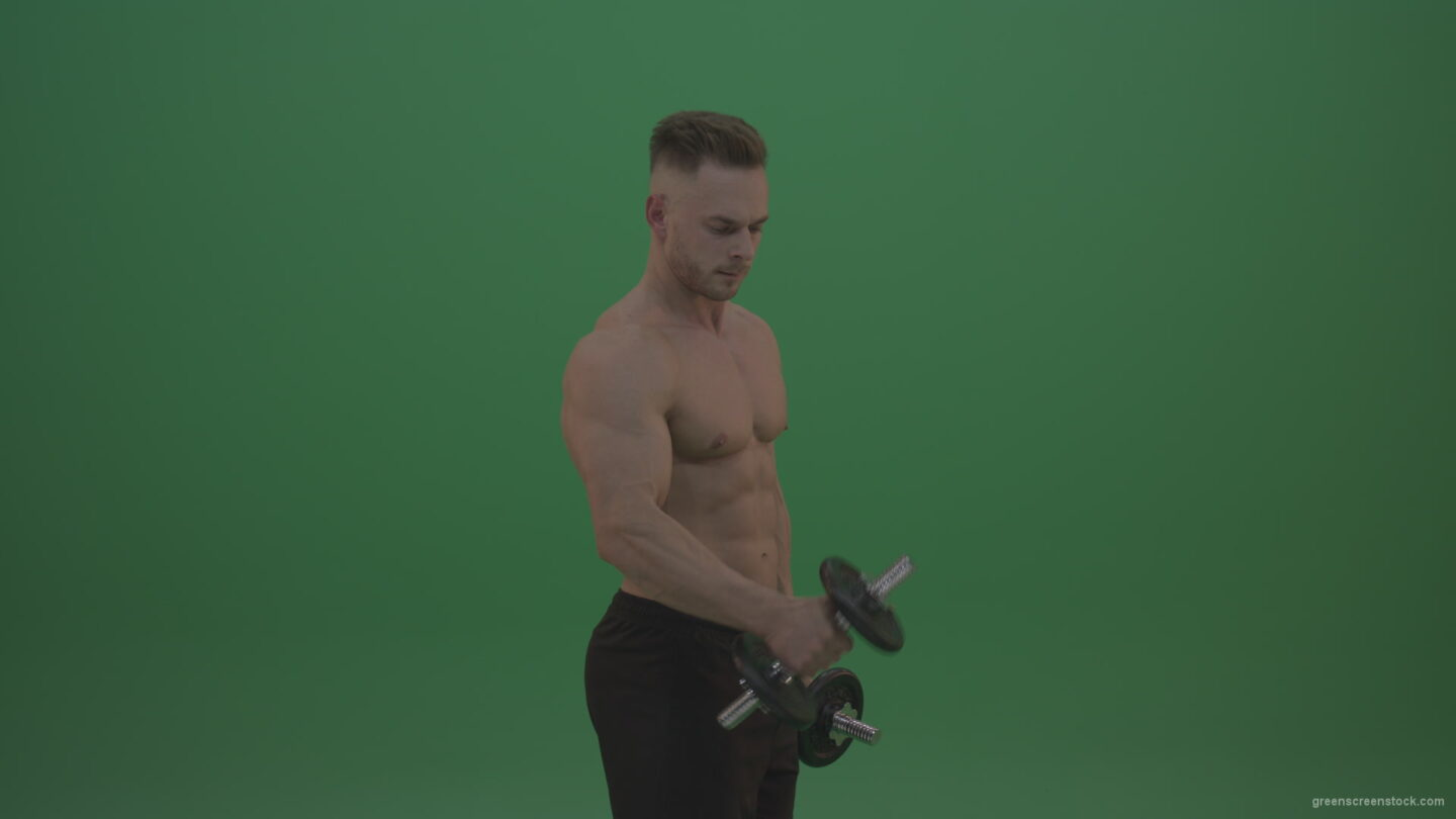 vj video background Young_Bodybuilder_Working_Out_Two_Handed_Dumbbell_Push_Ups_Excercise_On_Green_Screen_Wall_Background_003