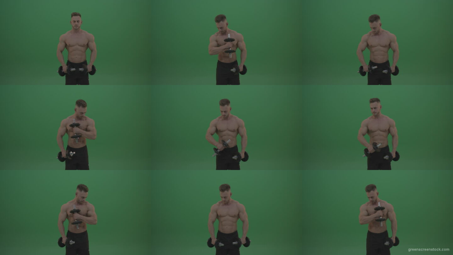 Young_Bodybuilder_Working_Out_With_Two_Handed_Dumbbell_Biceps_Exercises_On_Green_Screen_Wall_Background Green Screen Stock