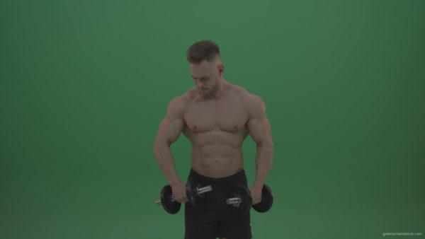 vj video background Young_Bodybuilder_Working_Out_With_Two_Handed_Dumbbell_Biceps_Exercises_On_Green_Screen_Wall_Background_003