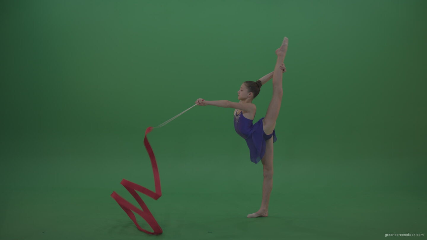 vj video background Young_Brunette_Gymnast_Performing_Some_Acro_Dance_Moves_And_Positions_Using_Ribbon_On_Green_Screen_Chroma_Key_Wall_Background_003