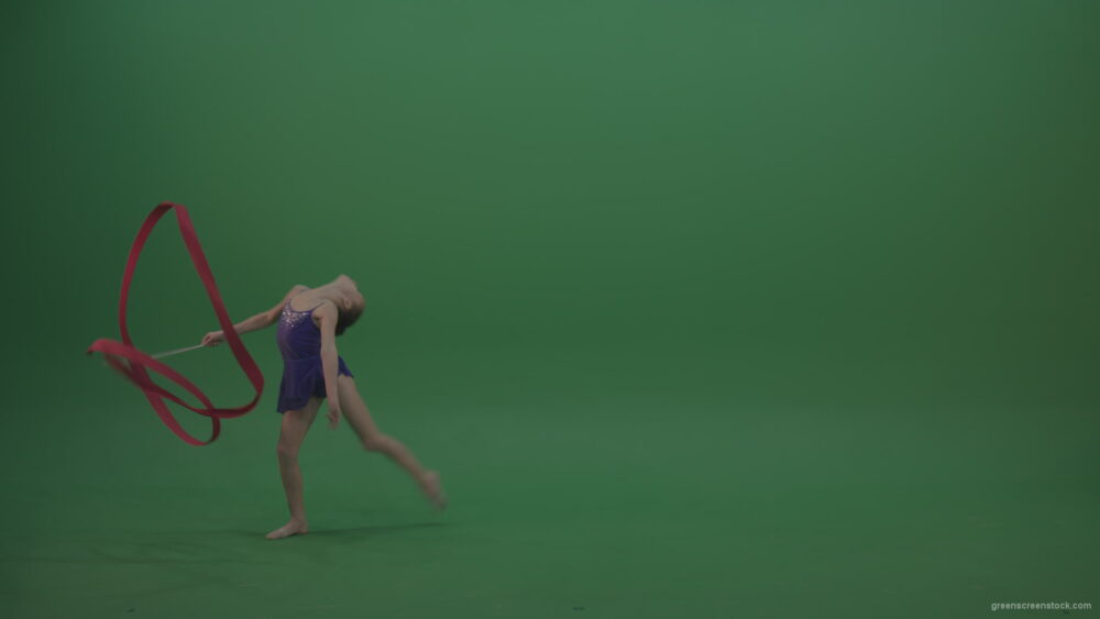 vj video background Young_Female_Acrobat_Gymnast_Performing_Acro_Dance_Using_Red_Long_Ribbon_On_Green_Screen_Wall_Chroma_Key_Background_003
