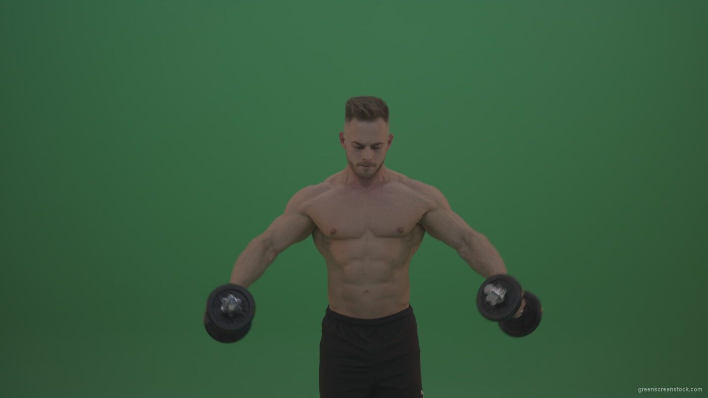 Young_Sportsman_Doing_Workout_Two_Handed_Excercise_For_Pectoral_Muscles_Pushing_Up_Dembbells_On_Green_Screen_Chroma_Key_Wall_Background_002 Green Screen Stock