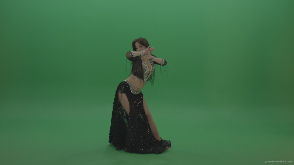 vj video background Admirable-belly-dancer-in-black-wear-display-amazing-dance-moves-over-chromakey-background_003