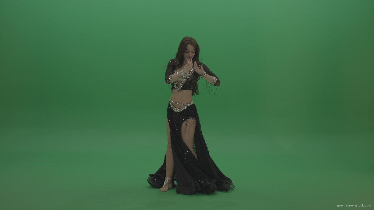 vj video background Adorable-belly-dancer-in-black-wear-display-amazing-dance-moves-over-chromakey-background_003