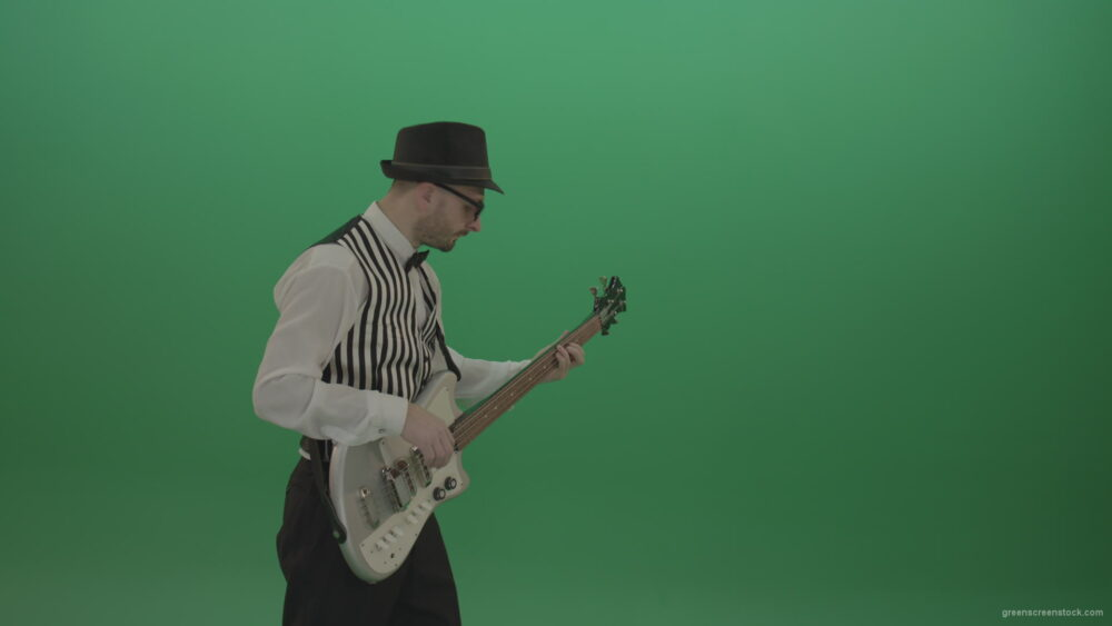 vj video background Cheerful-game-of-white-guitar-man-in-white-shirt-and-black-hat_003