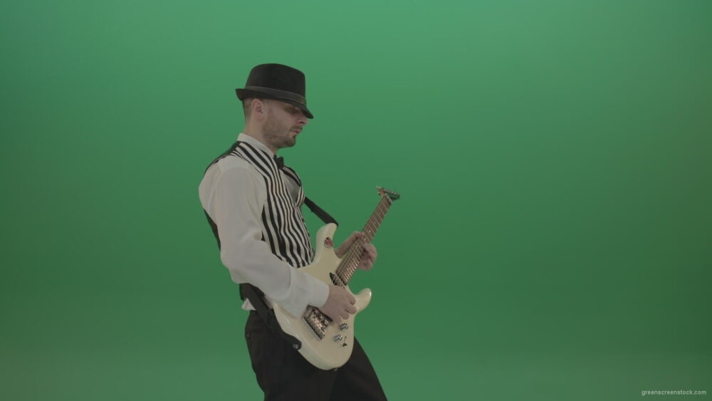 vj video background Classic-jazz-guitarist-play-white-electro-guitar-solo-music-on-green-screen_003