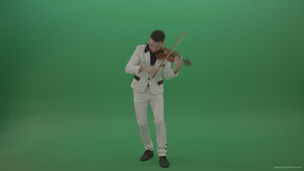 vj video background Classic-music-Man-in-white-costume-and-eyes-in-black-mask-play-gothic-violin-Fiddle-string-music-instrument-isolated-on-green-screen_003