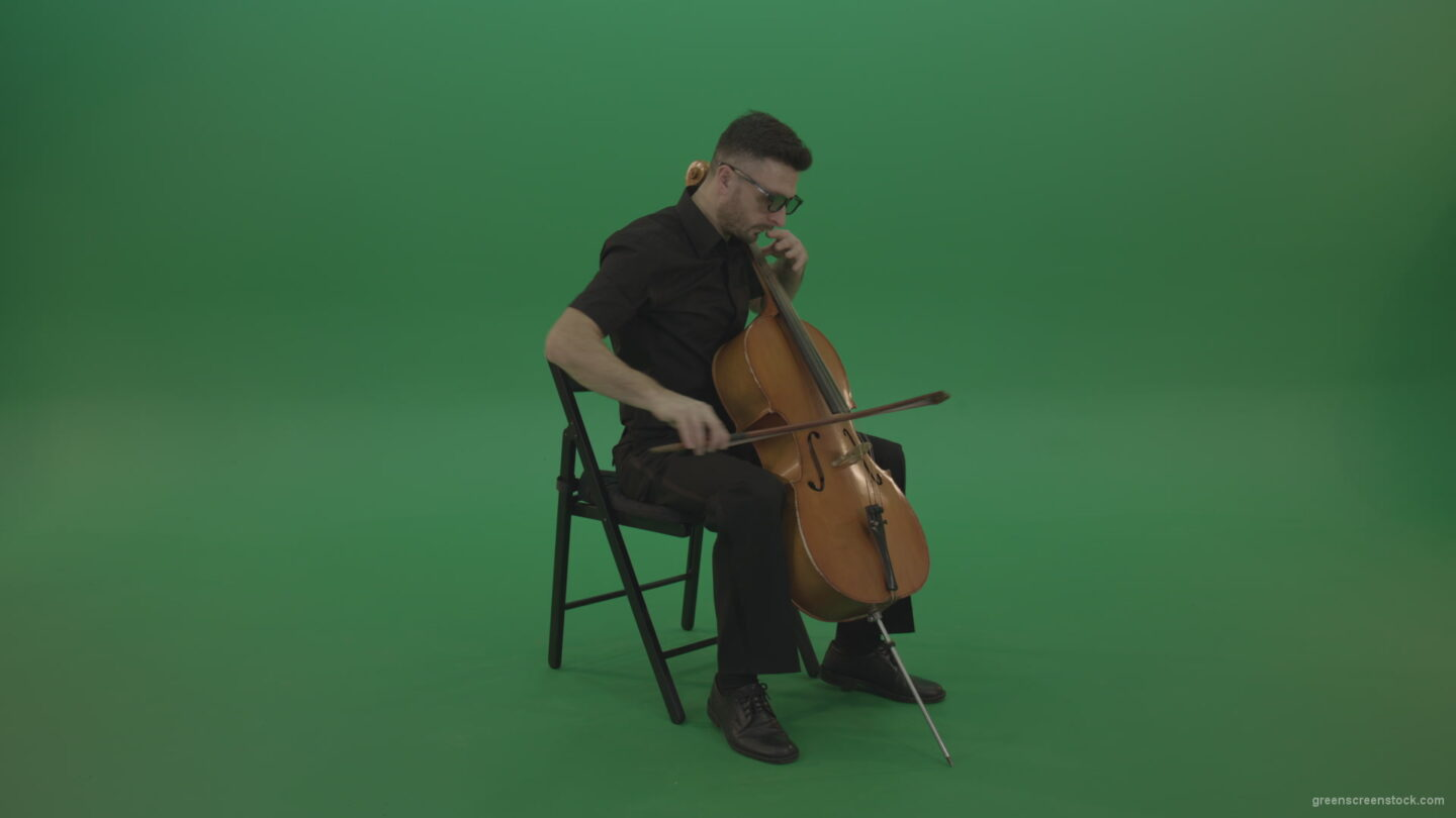 vj video background Classic-music-orchestra-man-playing-violoncello-cello-strings-music-instrument-isolated-on-green-screen_003
