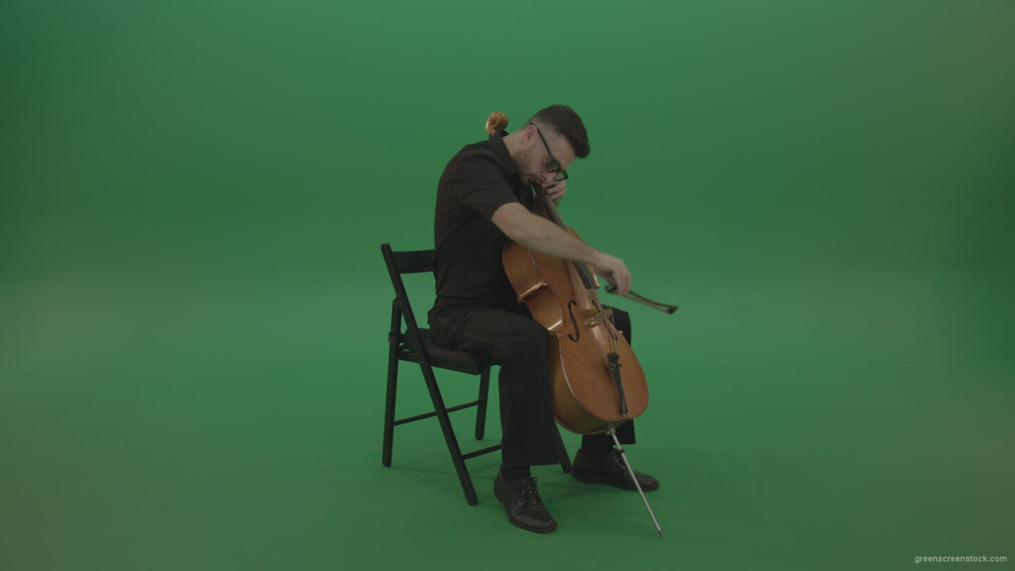 Classic-music-orchestra-man-playing-violoncello-cello-strings-music-instrument-isolated-on-green-screen_008 Green Screen Stock