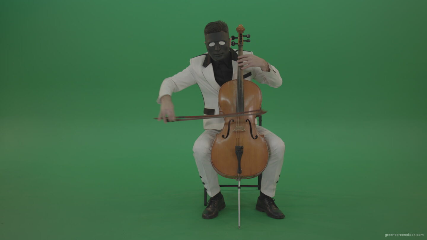 vj video background Classic-orchestra-man-in-white-wear-and-black-mask-play-violoncello-cello-strings-music-instrument-isolated-on-green-screen_003