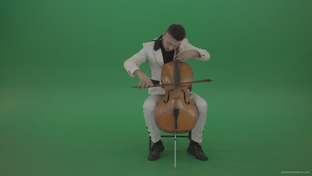 vj video background Classic-orchestra-man-in-white-wear-play-violoncello-cello-strings-music-instrument-isolated-on-green-screen_003