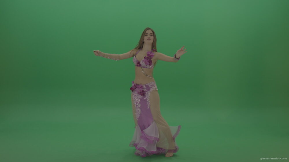 vj video background Delightful-belly-dancer-in-pink-wear-display-amazing-dance-moves-over-chromakey-background_003