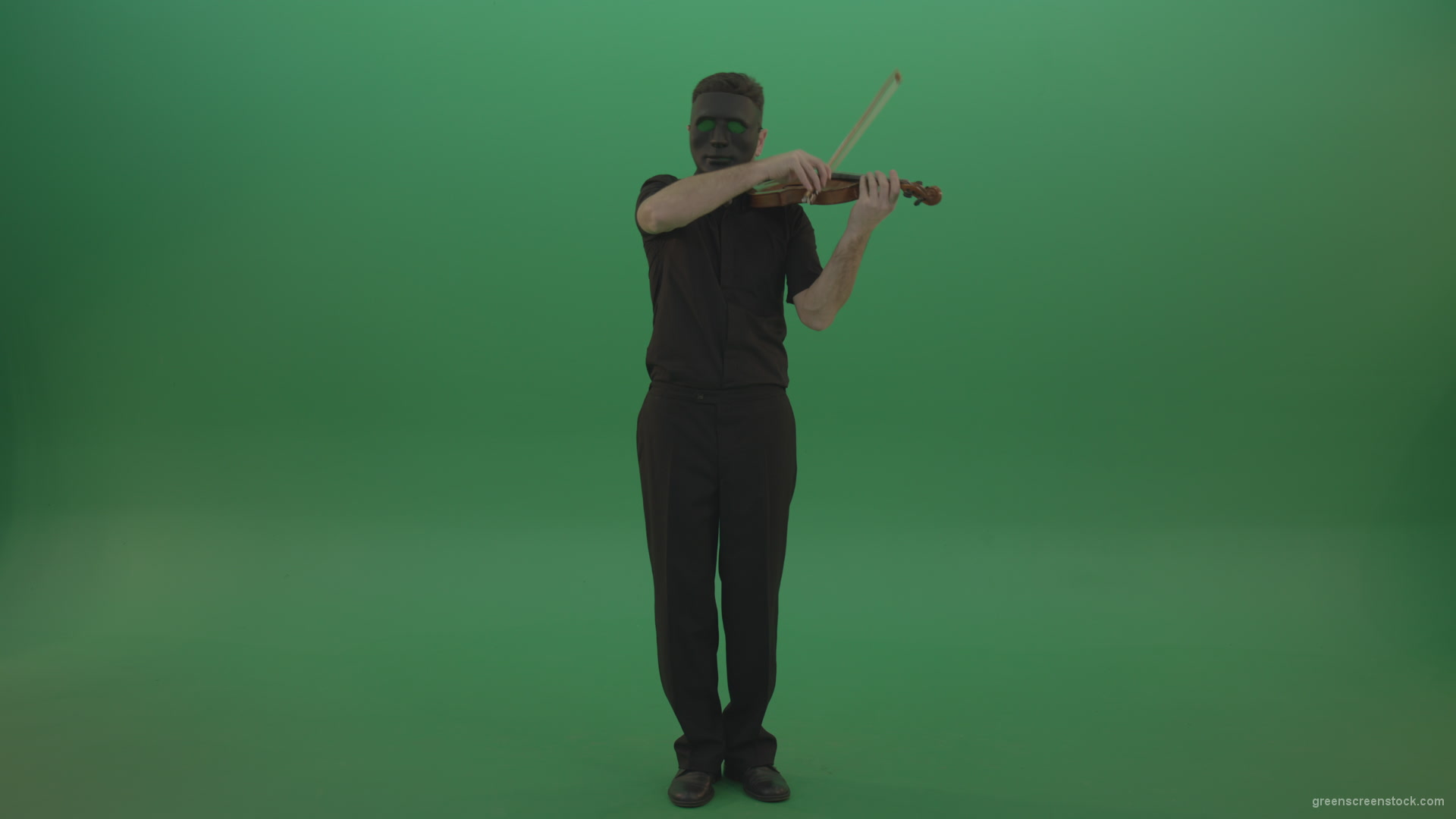 Man in black wear and mask play violin fiddle strings gothic dark music –  Green Screen Video Footage