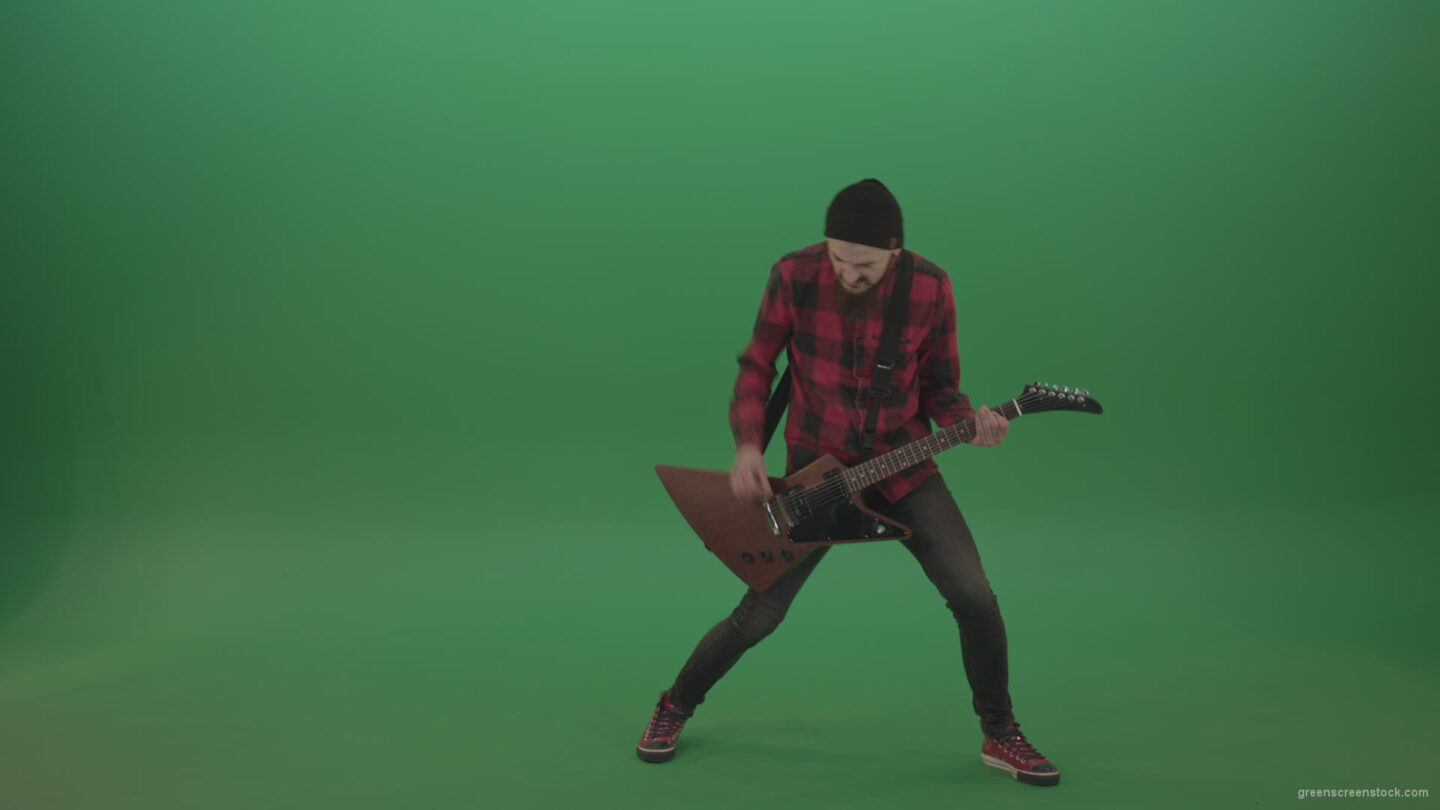 vj video background Full-size-Green-Screen-Musician-Rock-Guitarist-man-in-red-shirt-play-guitar-on-green-screen_003